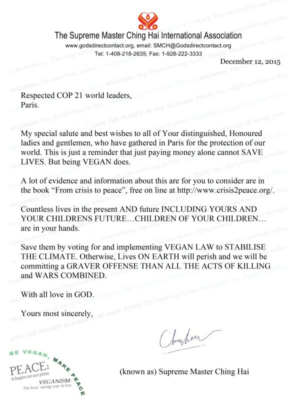 Master's Letter to COP21 World Leaders