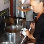 Making the mjadara at People's Street Kitchen, Chios Isalnd, Greece